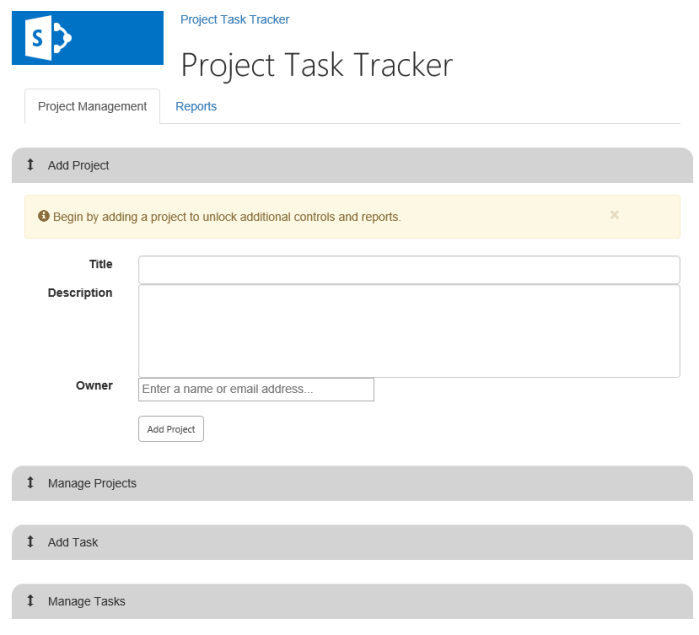 Task Tracker Intial State