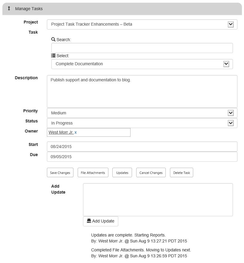 Task Tracker Updates