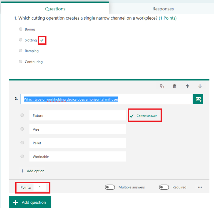 O365 Forms Correct Answer and Points