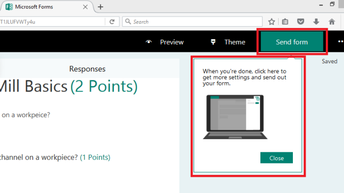 Send the Office 365 Forms Quiz