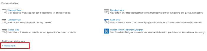 Business Management O365 SharePoint start from all documents.