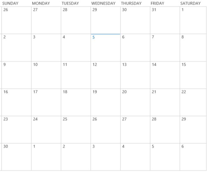Business Management O365 SharePoint default calendar view.