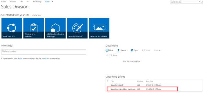 Business Management Office 365 SharePoint sales division calendar.