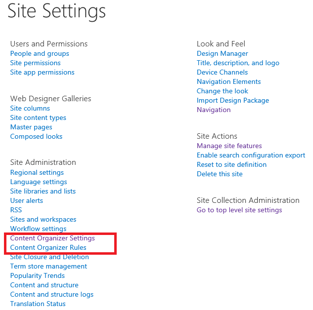Business Management O365 SharePoint Content Organizer site settings.