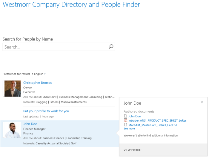 O365 SharePoint Search results company directory.
