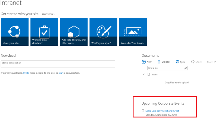 Business Management O365 SharePoint Corporate Events.