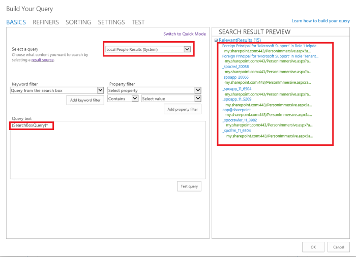 O365 SharePoint too many results in People content type.