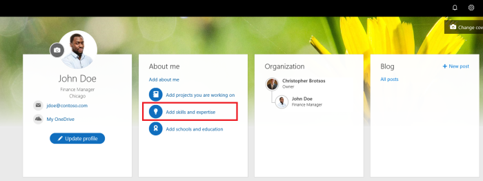 O365 SharePoint Microsoft Delve landing page.
