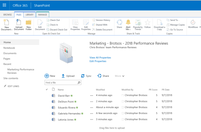 Business Management O365 SharePoint document set of reviews.