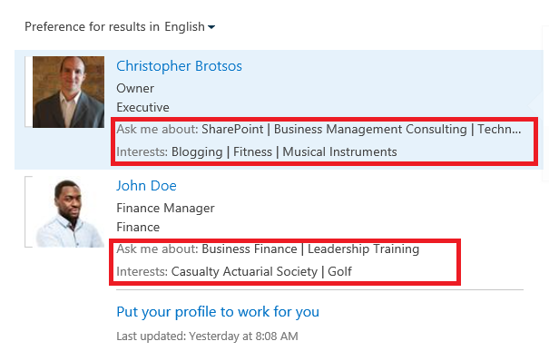 O365 SharPoint Expertise in Search Results.