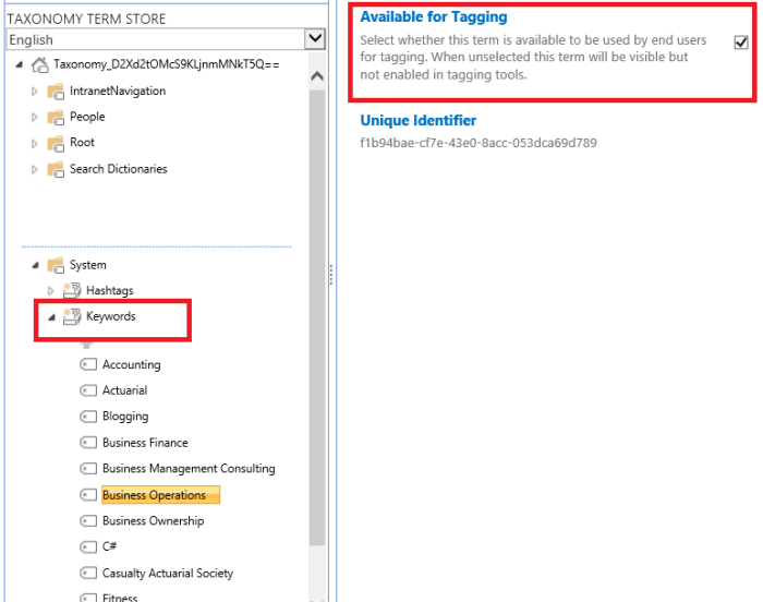 O365 SharePoint Keywords in the Term Store.