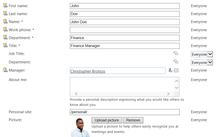 Office 365 SharePoint User Profile Properties.