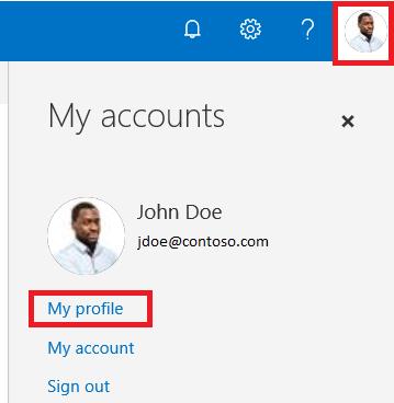 O365 SharePoint My Profile Link.