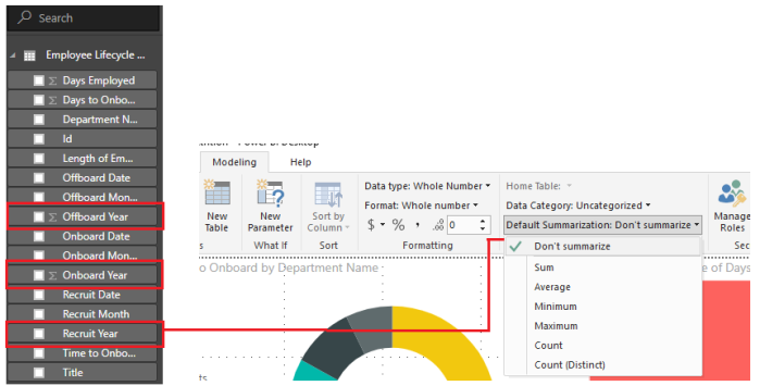 Power BI disabling summarization and summation.