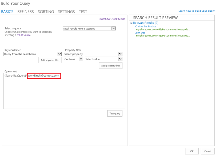 O365 SharePoint Human Resources valid people search results.