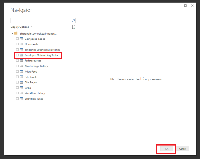 O365 SharePoint Power BI select list from options.