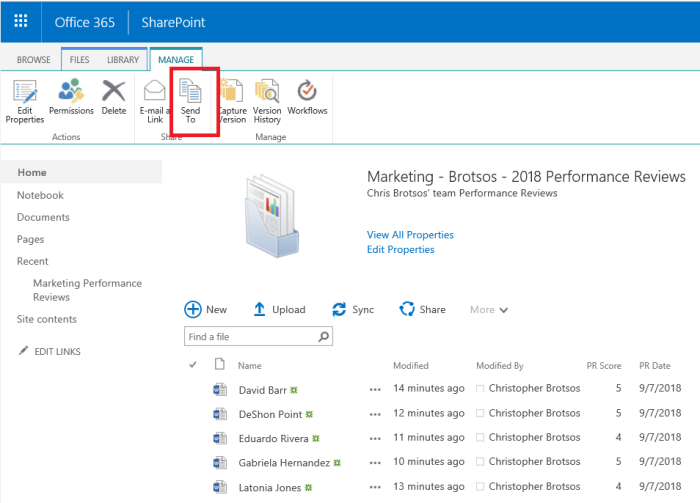 Business Management O365 SharePoint document set send to button.