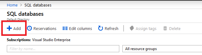 Azure SQL database add button.