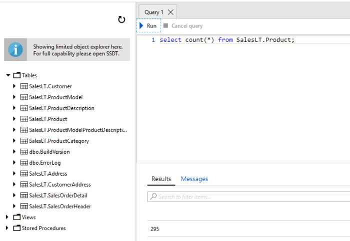 Azure SQL Query Editor