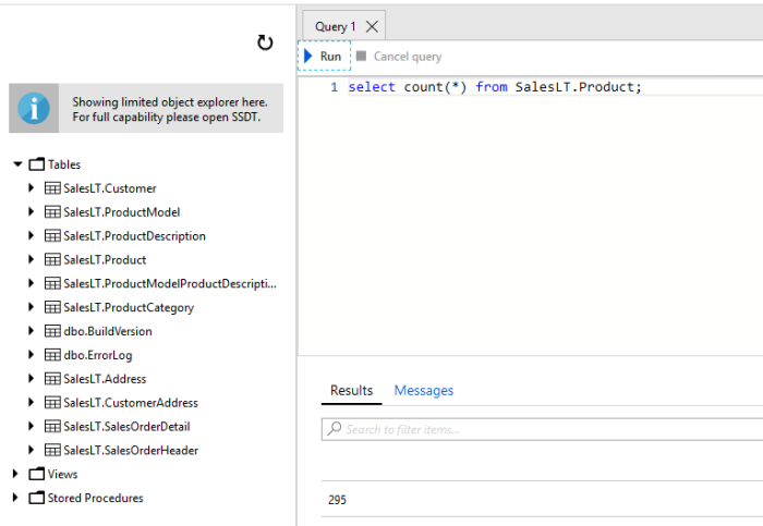 Azure SQL Query Editor